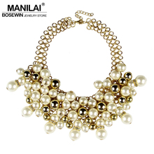 MANILAI Women Imitation Pearl Jewelry Fashion Collar Chokers Gold Color Chain Beads Rhinestone Statement Necklace Maxi Bijoux