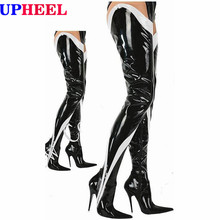 UPHEEL long length boots sexy Fetish Drag Queen 12cm stiletto Heel Patent shiny Thigh high boots Custom made Boot