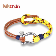 Hot Sale Fashion Jewelry navy style Sport Camping Parachute cord Survival Bracelet Men Women with Stainless Steel Shackle Buckle(China)