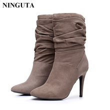 Fashion pleated high heels women boots for autumn spring women shoes short boot