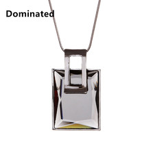2016 New Women Dignified Atmosphere Square Crystal Sweater Chain Necklace Pendant Necklace All-match Female Long(China)