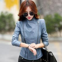 lager size women clothing Free shopping Autumn Korean new stand collar Slim leather jacket / L-4XL