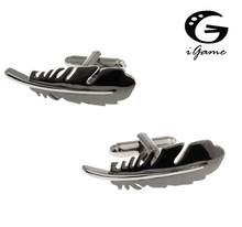 iGame Factory Price Retail Men's Cufflinks Copper Material Black Colour Feather Design Free Shipping(China)