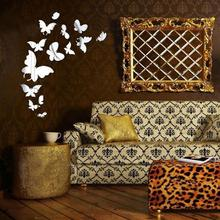 Home Decor Wall Stickers butterfly wall stickers wall mirror Wall Decal Decoration Fashion Romantic bedroom decor accessories(China)