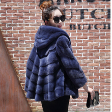 2017 new real fur grass mink coat a word version with a hat dress fashion long shawl