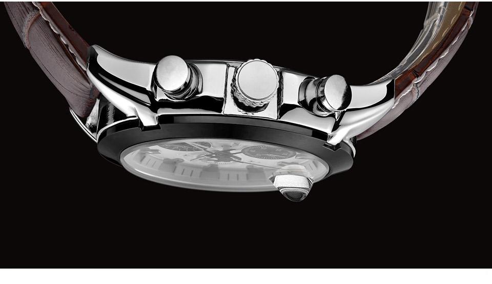 Baogela Mens Chronograph Luminous Hands Date Indicator Fashion Causal Leather Strap Sport Quartz Wrist Watches 11