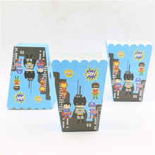 6pcs/set Kids Birthday Party Supplies Popcorn Box Case Gift Box Favor Accessory Birthday Party Decoration Superhero Popcorn box