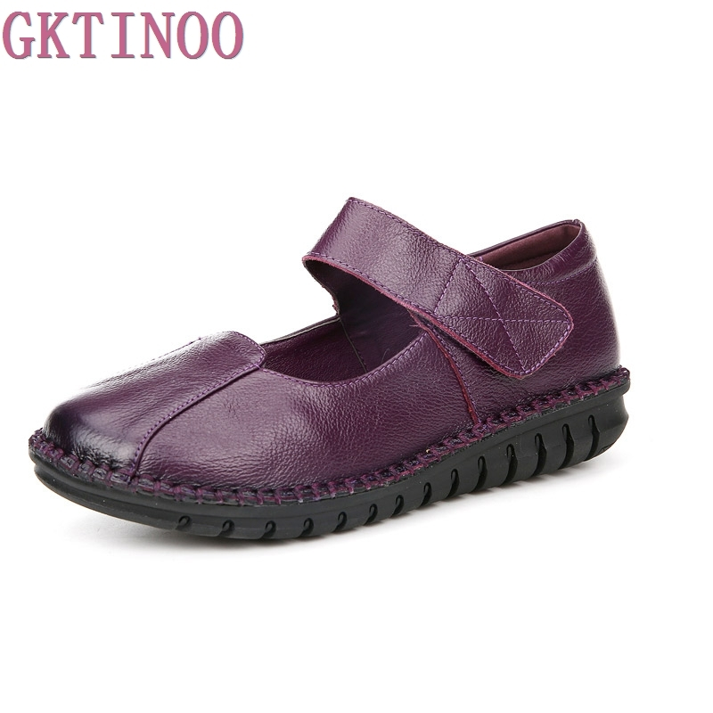 Handmade Soft Shoes Woman Genuine Leather Women Shoes Comfortable Loafers Womens Flat Shoes Fashion Women Flats<br>