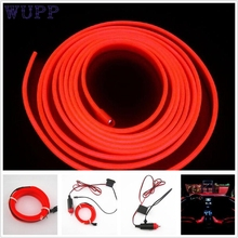 Car-styling 2M RED EL-Wire 12V Car Interior Decor Fluorescent Neon Strip Cold light Tape jn28(China)