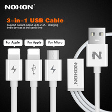 Original NOHON 3 IN 1 8Pin Micro USB Cable For Apple iPhone 7 6 6S Plus 5 5S SE iPad 4 Air 2 3-in-1 USB Fast Charging Cables(China)