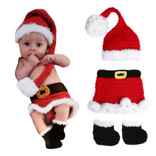 3pcs Baby Photo Props Hat Christmas Dress Shoes Newborn Baby Infant Crochet Knit Xmas Santa Costume Photography Props