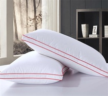 Rectangle 95% goose Down+5% Feather Pillow white color Red edge Down-proof Cotton bed pillows neck almohada Neck Health 48*74cm