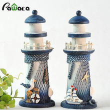 Mediterranean Style Lighthouse Figurines Wood Ornaments Conch Fishing Nets Lantern Home Decoration Creative Tower Craft Decor(China)