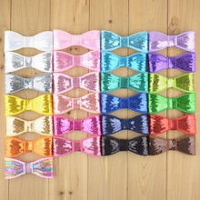 "DHL 300pcs/lot Fluorescent colors Size 4""Sequined embroidered DIY hair accessories  Kids bow tie Boutique Bows"