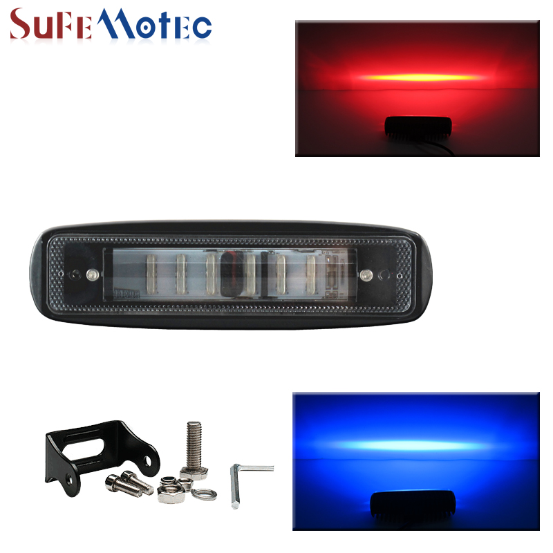 SufeMotec 7 Inch 30W Led Work Light Bar Red Blue Strobe Warming Driving Light Spot Beam use Car Truck Offroad SUV 4X4 4WD 12V<br>