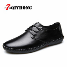 QIYHONG Luxury Brand Men Shoes Casual Leather Fashion Trendy Zapatos Hombre Black Brown Flat Shoes Men Sapatos Masculinos