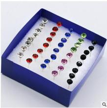 ED5000 1 pack of 20 pairs Mix colors 4MM Super bright plastic crystal earrings hypoallergenic earrings box for women