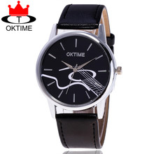 OKTIME Brand Fashion Guita Watch Casual Women Leather Strap Ladies Musice Note Quartz Watches Relogio Feminino Gift KT05(China)