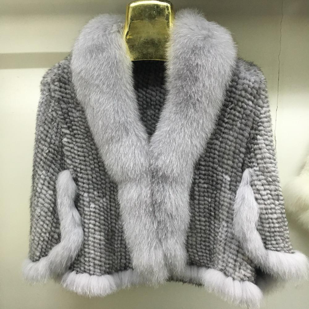 Luxury Mink Fur Shawl For Women Poncho Cape Knitted Genuine Fur Jacket Coat Female Winter Wraps Outerwear (4)