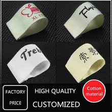 1000pcs Custom Beige Cotton Printed Clothing Labels Customize Brand Logo Printed Cotton Material Labels with Seperate Cut