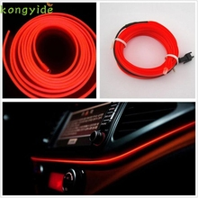 High Quality 2M RED EL-Wire 12V Car Interior Decor Fluorescent Neon Strip Cold light Tape(China)