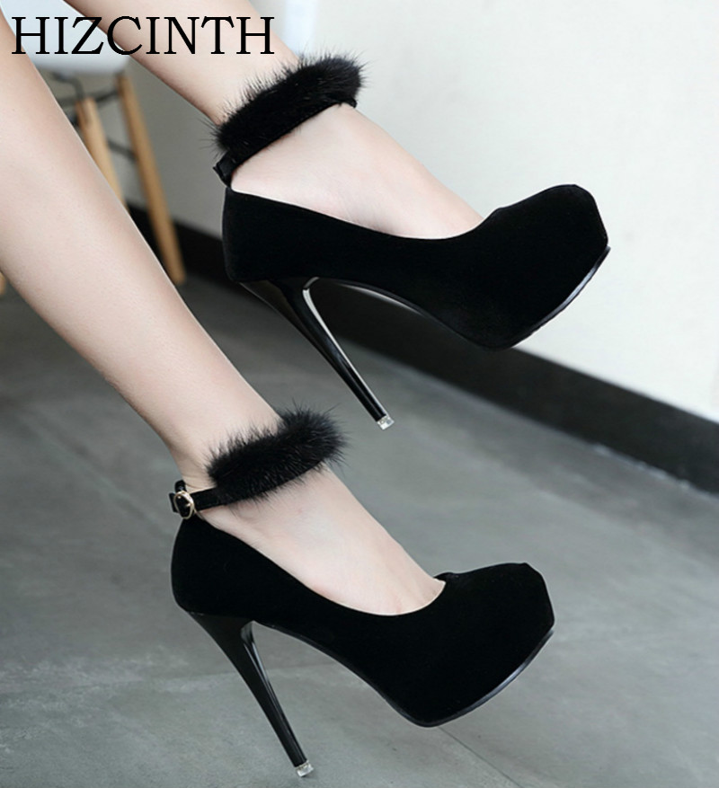HIZCINTH 2018 Spring/autumn Shoes Woman High Heels Platform Single Shoes Mink Fur Suede Ankle Strap Ladies Shoe Pumps Sandals<br>