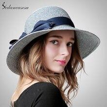 406e17761f309 Sedancasesa moda praia chapéu feminino verão dobrável chapéu de sol grande  brim chapéus de palha para