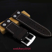 28mm Black cow heavy strap leather Watch white Stitches fit Men's military(China)