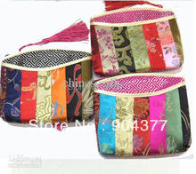 Pretty Patchwork Small Zipper Purses Weddings Favors High End Tassel Silk Brocade Gift Bags 10pcs/lot mix Color Free shipping