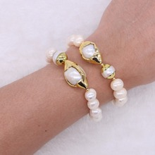 Natural pearl beads druzy bracelet bangle golen color plated high quality   crafted pearl  bracelets 1798