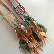 Small Dream Catcher Peacock Feather Decoration Native American Dream Catcher Head Bands Hairband Free Shipping