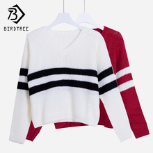 4 Colors!Spring Autumn Women Sweaters Pullovers V-neck Crop Tops Striped Long Sleeve Knitted Sweater Roupas Femininas T4N510(China)
