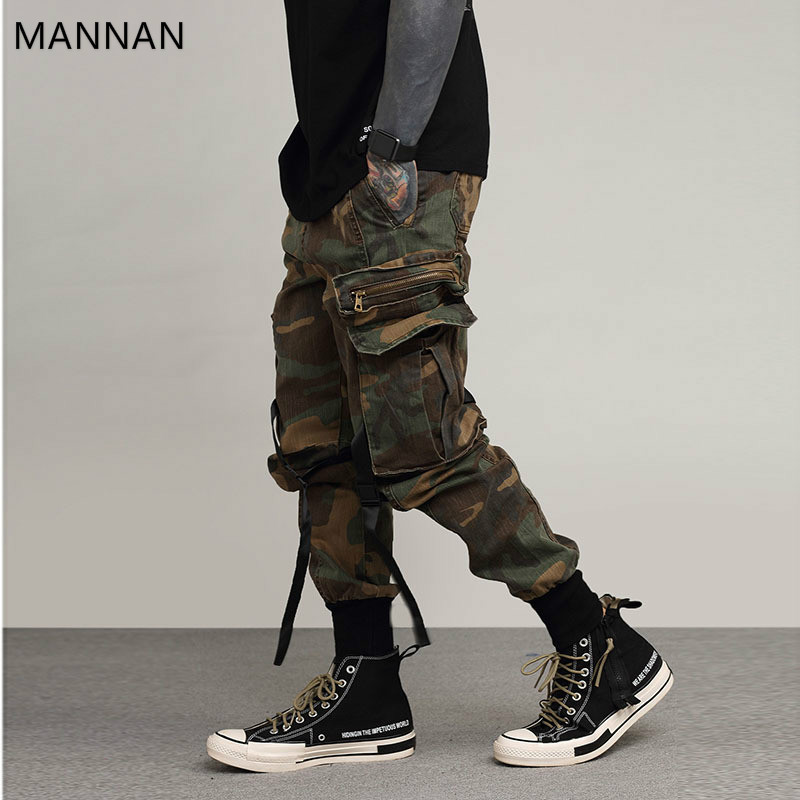 MANNAN Modis Mens Hip Hop Pant Side Pockets Vintage Camouflage Cargo Pant Streetwear Casual Harem Pant Military Tatical Trousers