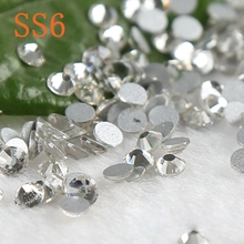 Nail stick rhinestones white crystal ( 3d Nail Art decorations ) Non Hot Fix Glue on Rhinestones(China)