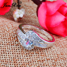 JUNXIN Female White Oval Ring Fashion Gold Filled Jewelry Vintage Wedding Rings For Women Birthday Stone Gifts