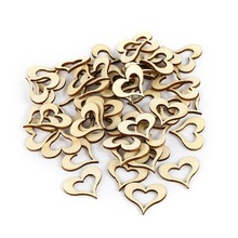 Hot 3cm*2.7cm*0.3cm 50PC/Lot  DIY Wood Heart Shape Weeding Party Decorations Valentine's Day Little Gift Home DIY Decor F3