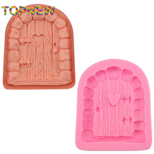 Top New DIY Cartoon Art Fairy Doors Silicone Fondant Cake Mold Chocolate Clay Mould Fondant Cake Decoration Mould C3038(China)