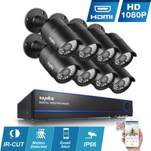 SANNCE 8CH HD 1080P DVR Camera System 8pcs 2MP CCTV Security Cameras p2p night vision Outdoor waterproof Surveillance kits