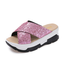 2017 Shine Bling Ladies Slippers Outside Cross Bandage Wedges Platform Women Shoes Open Toe Summer Med Heels Shoes Woman Slides