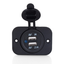 Universal Dual USB Car Cigarette Lighter Socket Splitter 12V Mobilephone Charger Power Adapter Outlet Parts Auto Black