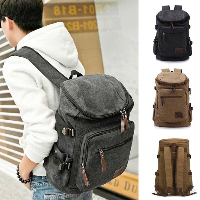 2017 Men Backpack Zipper Solid Mens Travel Bags Canvas Bag Mochila Masculina School Bags AGD<br>