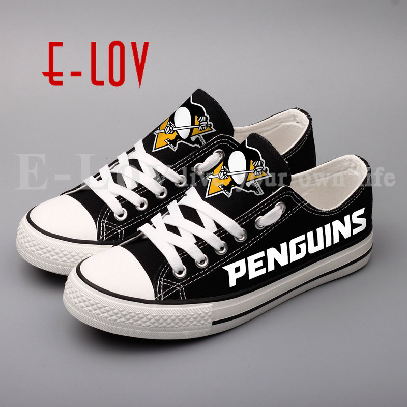 E-LOV New Graffiti Canvas Shoes Pittsburgh Penguins Low Top Black White Casual Shoes Woman Girls Gift Print Lace Shoes Wholesale<br>