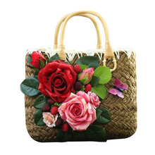Summer Straw Bags for Women 2017 Luxury Flowers Handmade Woven Beach Bag Travel Women's Handbags Bolsa Feminia(China)