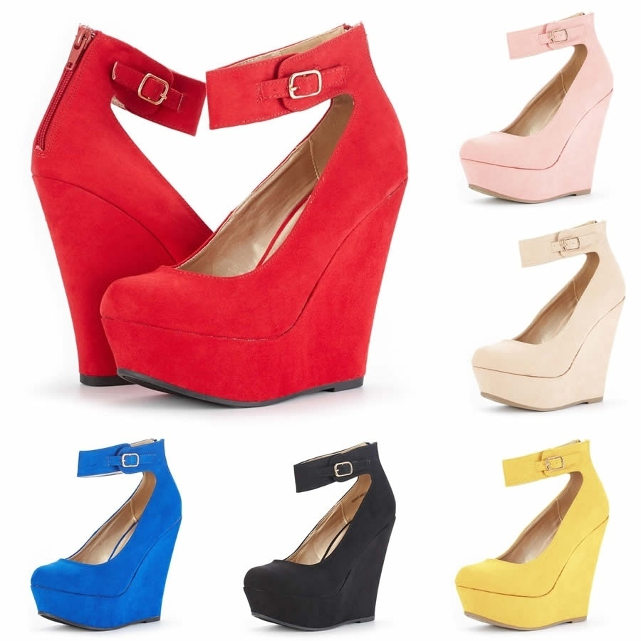 Women Faux Leather Heart-Shaped Wedge High Heels Bowknot Shoes Size 35-43