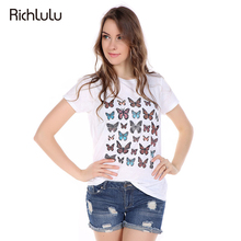 RichLuLu Apparel Butterfly Printed T-shirt Women Solid Color Casual O-Neck Female Tee Top Short Sleeve Streetwear Pullover Tees