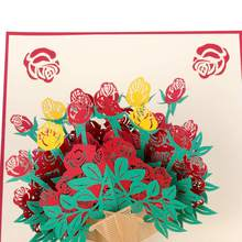 Botique Flower Pop Up Cards Mom Birthday Gifts 3D Greeting For All Occasions Elegant Rose 67x 72 Inches Envelop