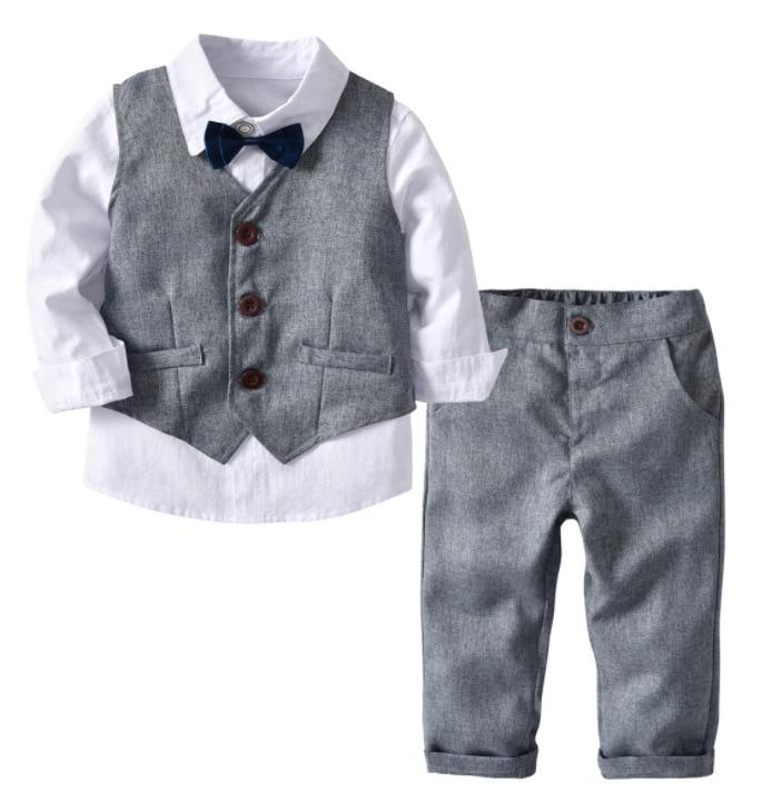 CHICTRY Conjuntos de Ropa Beb/é Ni/ño Reci/én Nacido Tops Camiseta de Algod/ón con Pajarita y Pantalones Cortos Tirantes Trajes de Fiesta Boda Bautizo Infantil