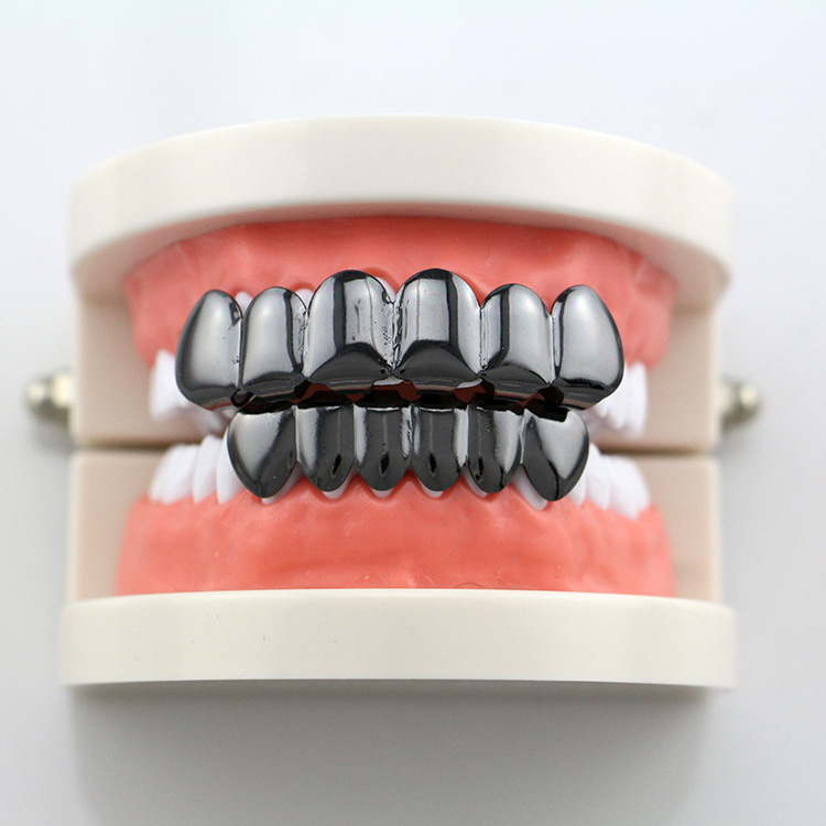 Hip Hop Rapper Teeth Grillz Caps Fangs Top U0026 Bottom Smooth Grill Groll Sets  For Mouth Jewelry Silver Gold Colors YT0002   Us980