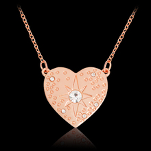 Starburst Hammered Heart shaped Pendant Necklace Rose Gold Crystal Rhinestones Star Necklaces For Women Lovers Fashion Jewelry