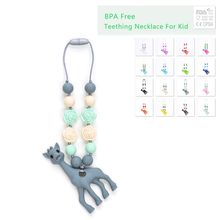Silicone Teething Necklace For Kids Giraffe Teether Pendant Necklace Food Grade Jewelry Baby Carrier Accessory Teething Toy